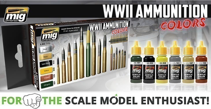 Ammo Of Mig Jimenez WWII Ammunition Colours # 7124 - Paint Set