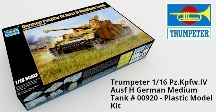 Trumpeter 1/16 Pz.Kpfw.IV Ausf H German Medium Tank # 00920 - Plastic Model Kit