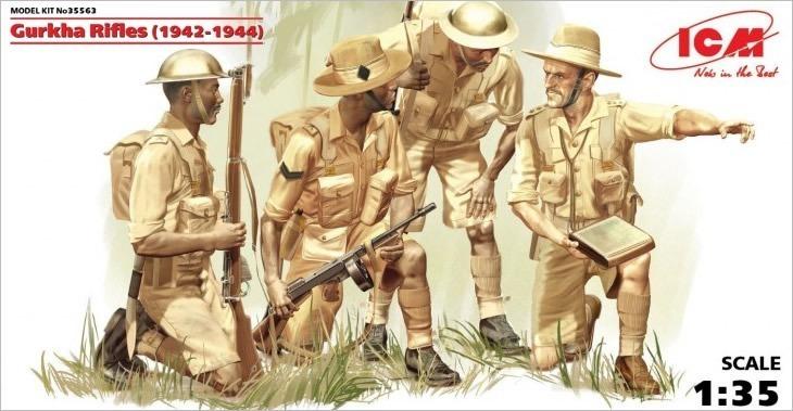 ICM 1/35 Gurkha Rifles (1944) (4 figures) # 35563 - Plastic Model Figures
