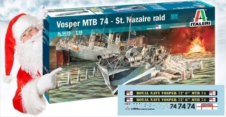 Italeri 1/35 MTB Vosper St.Nazaire Raid MTB 74 - NEW MOULDS # 5619 - Plastic Model Kit