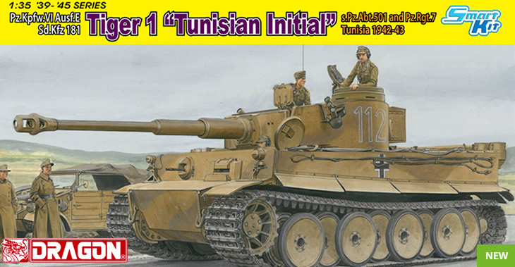 "Dragon 1/35 Pz.Kpfw.VI Ausf.E Sd.Kfz 181 Tiger 1 ""Tunisian Initial"" s.Pz.Abt.501 and Pz.Rgt.7 Tunisia 1942-43 # 6608"
