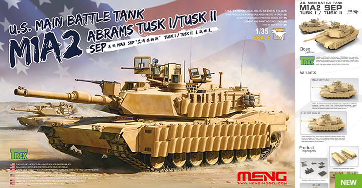 Meng Model 1/35 US Main Battle Tank M1a2 SEP Abrams TUSK I / TUSK II # TS-026