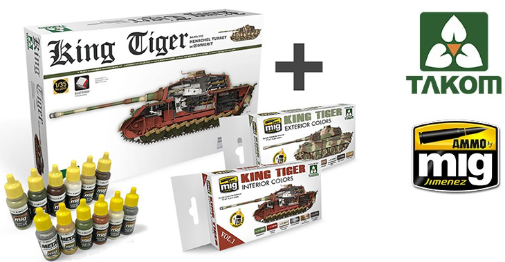 Combo TAK02045 (King Tiger Henschel Turret) + King Tiger Color Sets