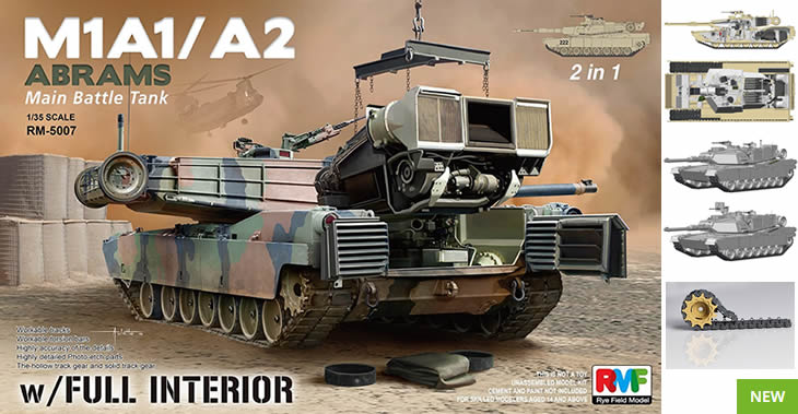 Rye Field Models 1/35 M1A1/ A2 Abrams w/ Full Interior 2 in 1 # 5007