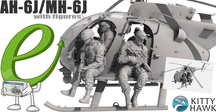 Kitty Hawk Model 1/35 Hughes AH-6J/MH-6J Little Bird Nightstalker with Figures # 50004 Kitty Hawk Model 1/35 Hughes AH-6J/MH-6J