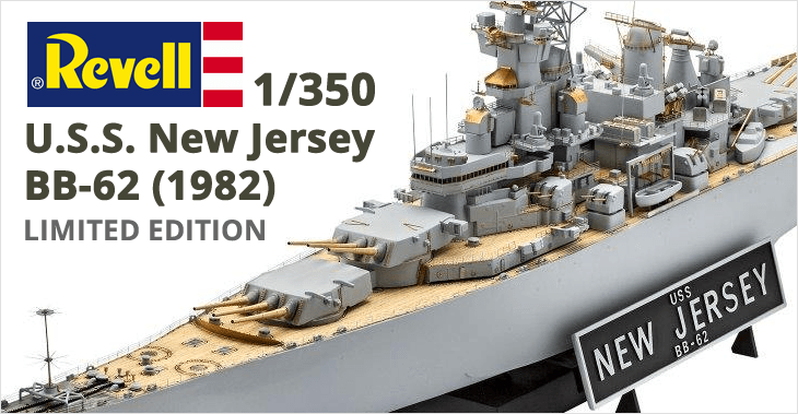 Revell 1/350 U.S.S. New Jersey BB-62 (1982) # 05129 - LIMITED EDITION - Plastic Model Kit