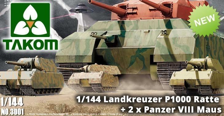 TAKOM 1/144 Landkreuzer P1000 Ratte + 2 x Panzer VIII Maus # 3001