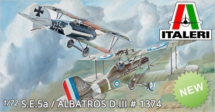 Italeri 1/72 S.E.5a / ALBATROS D.III # 1374 - Plastic Model Kit
