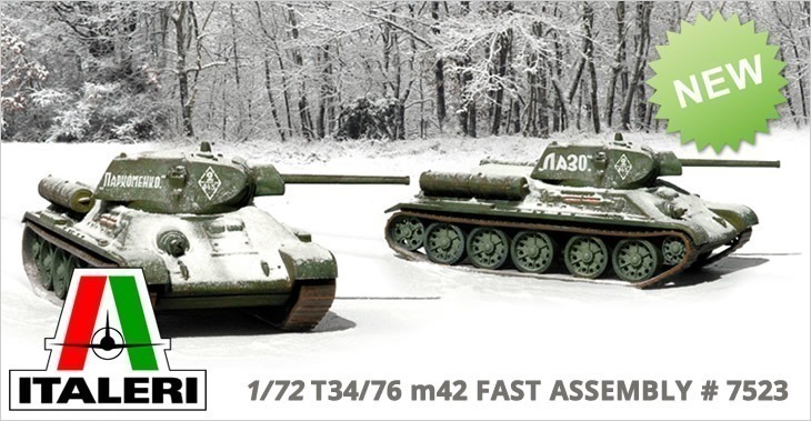 Italeri 1/72 T34/76 m42 FAST ASSEMBLY # 7523 - Plastic Model Kit