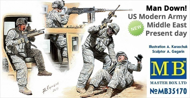 Masterbox 1/35 Man Down! US Modern Army, Middle East, Present day # 35170 - Plastic Model Figures