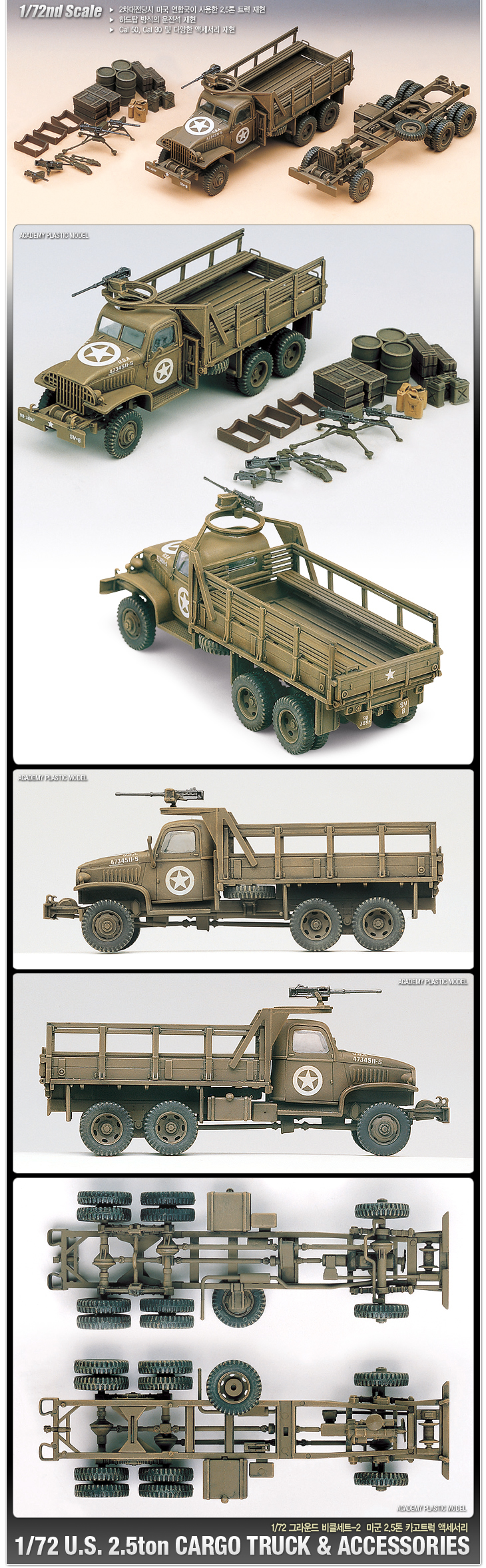 Academy 1/72 WWII US 6x6 Cargo Truck and Accessories # 13402