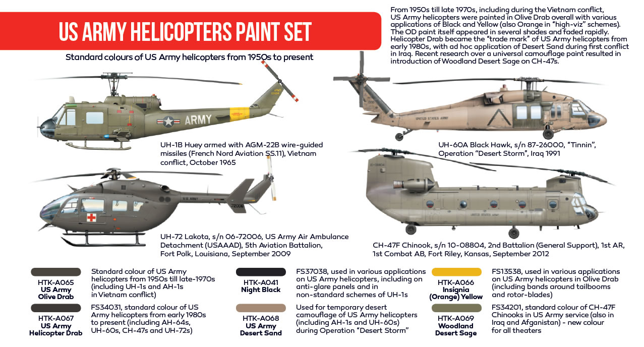 Hataka US Army Helicopters Paint Set # AS19
