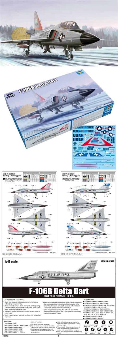 Us F-106b Delta Dart Fighter USAF Two-Seat Trainer 1:48 Plastic Model Kit
