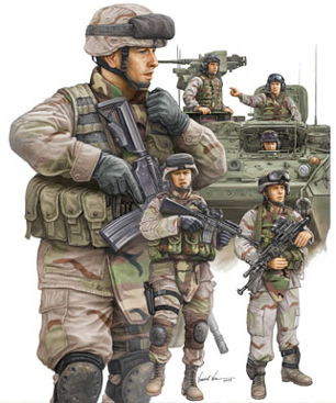 Trumpeter 1/35 Modern US Army Armour Crew and Infantry Set # 00424