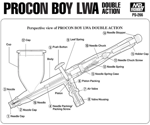 Mr Hobby Mr Procon Boy LWA Double Action 0.5mm # PS-266