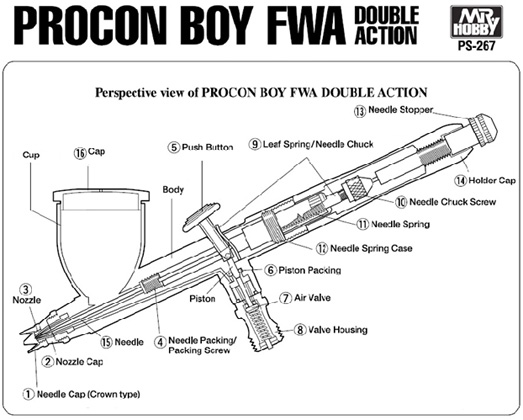 Mr Hobby Mr Procon Boy FWA Double Action 0.2mm # PS-267