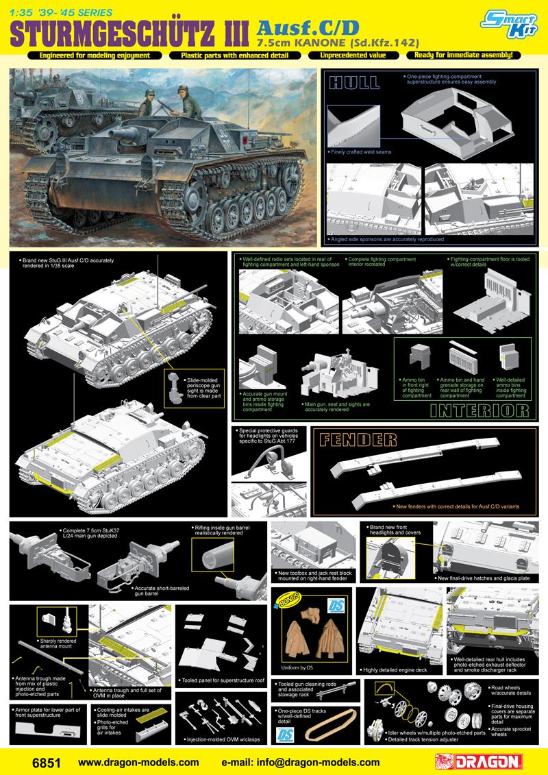 Dragon 1/35 STURMGESCHUTZ 7.5cm KANONE (Sd.Kfz.142) Ausf.C/D # 6851