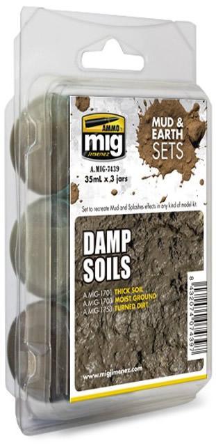 Ammo by Mig 35ml 3x Mud & Earth Damp Set # 7439
