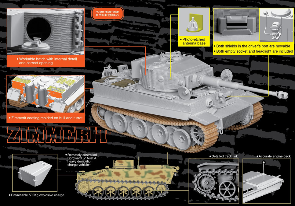 Dragon 1/35 Tiger I Mid-Production w/Zimmerit mit Borgward IV Ausf.A Heavy Demolition Charge Vehicle # 6866