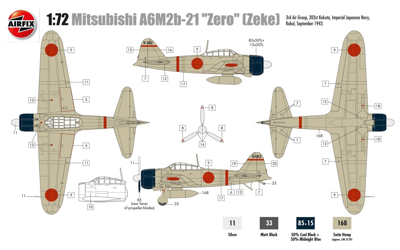 Airfix 1/72 Mitsubishi A6M2b Zero # 01005A