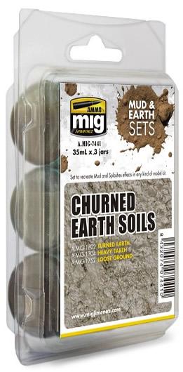 Ammo by Mig 35ml 3x Churned Earth Soils Set # 7441