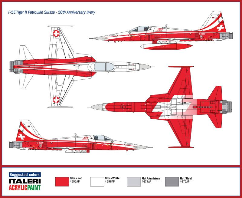 Italeri 1/72 Northrop F-5E Tiger II Patrouille Suisse 50th Anniversary # 1395