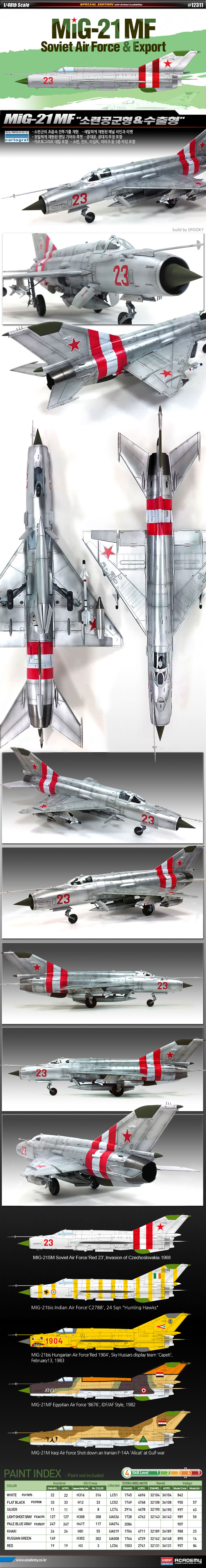 """Academy 1/48 Mikoyan MiG-21MF """"Soviet Air Forces & Export"""" # 12311"""