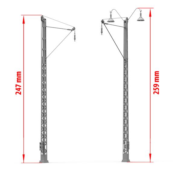 Miniart 1/35 Railroad Power Poles & Lamps # 35570
