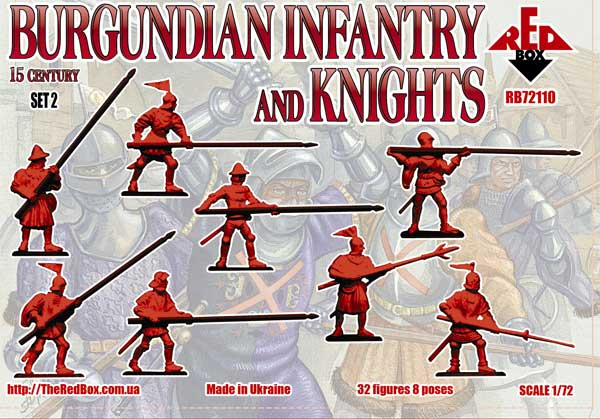 "Red Box 1/72 Burgundian infantry and knights (2 set). 15 century"" # 72110"