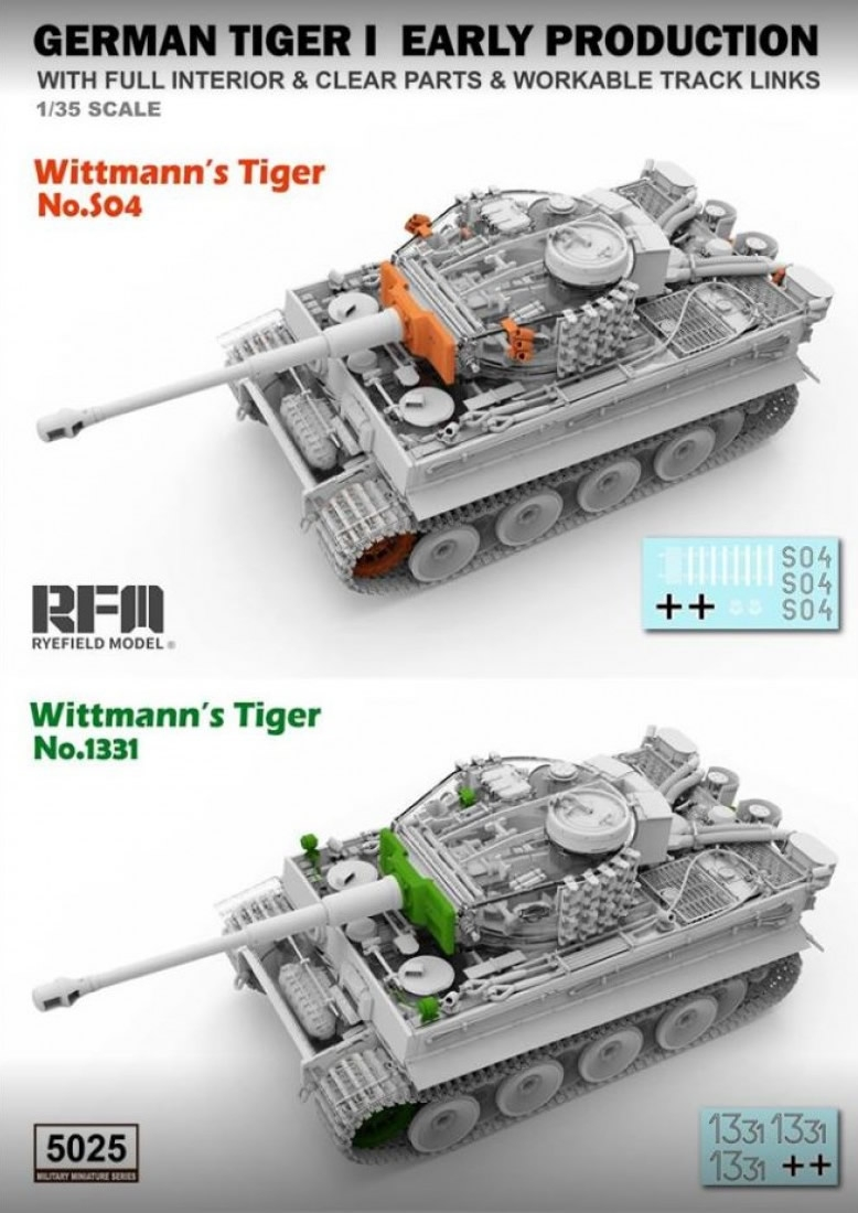 Rye Field Models 1/35 Tiger 1 Early Production w/t Full Interior & Clear Parts & Workable Track Links # 5025